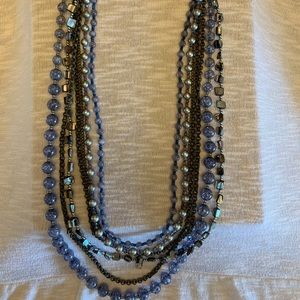 Chico's long multi strand blue necklace